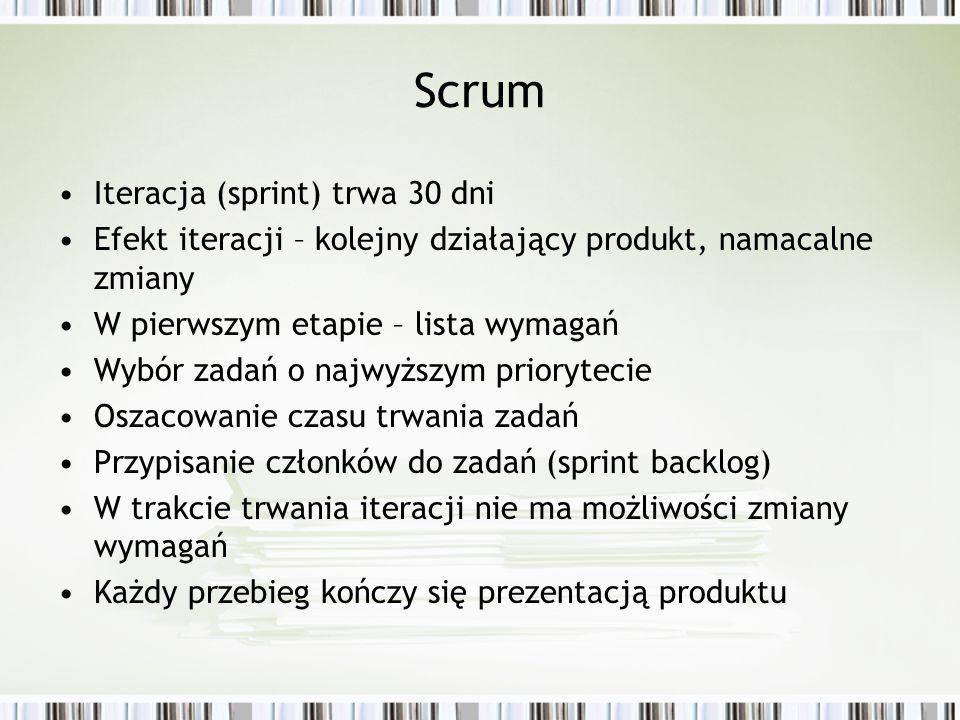Scrum Iteracja (sprint) trwa 30 dni Efekt iteracji – kolejny działający produkt, namacalne zmiany W pierwszym etapie – lista wymagań Wybór zadań o naj