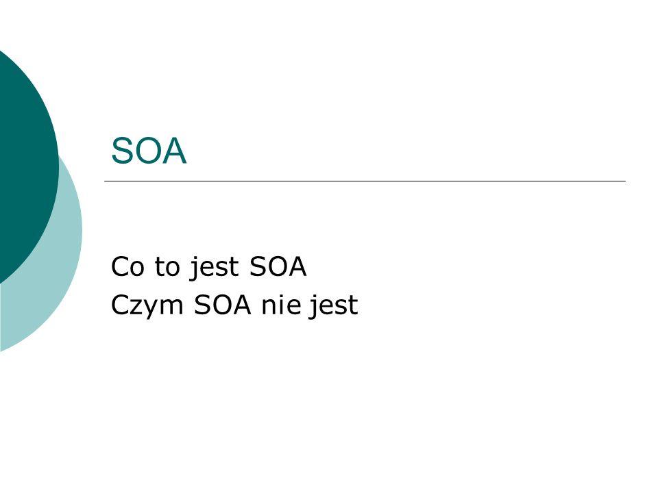 Plan SOA – definicje SOA – prawdy i mity Dlaczego SOA? Jak to działa? Cechy SOA Zalety