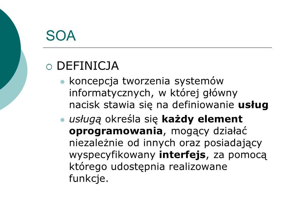SOA DEFINICJA koncepcja tworzenia systemów informatycznych, w której główny nacisk stawia się na definiowanie usług usługą określa się każdy element o