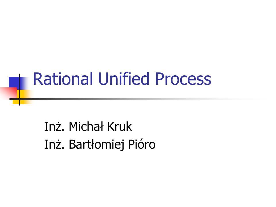 Rational Unified Process Inż. Michał Kruk Inż. Bartłomiej Pióro