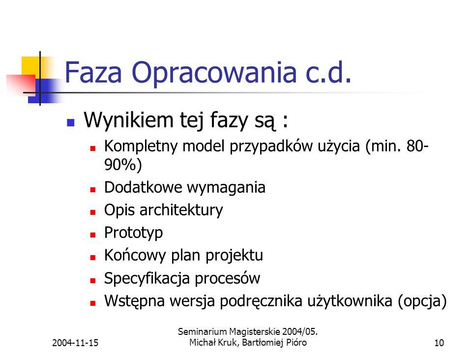 2004-11-15 Seminarium Magisterskie 2004/05.Michał Kruk, Bartłomiej Pióro10 Faza Opracowania c.d.