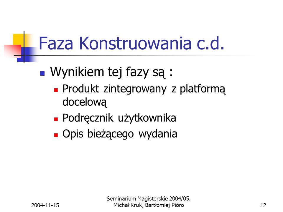 2004-11-15 Seminarium Magisterskie 2004/05.Michał Kruk, Bartłomiej Pióro12 Faza Konstruowania c.d.
