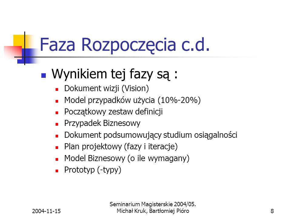 2004-11-15 Seminarium Magisterskie 2004/05.Michał Kruk, Bartłomiej Pióro8 Faza Rozpoczęcia c.d.