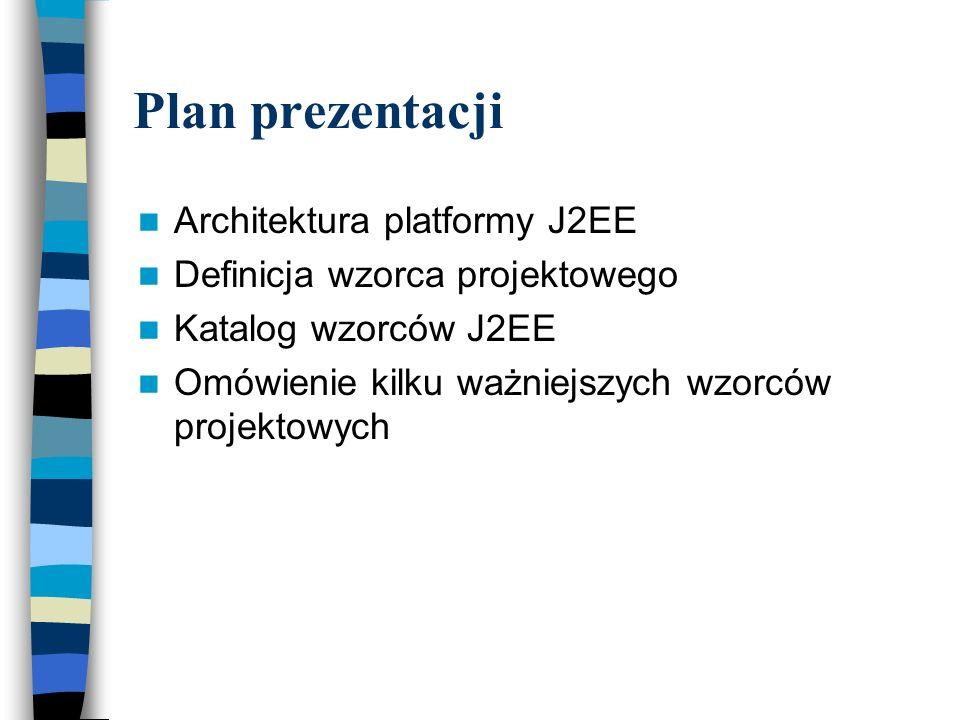 Business Delegate Wzorzec warstwy logiki biznesowej Stanowi punkt dostępu do zdalnych usług warstwy biznesowej Zmniejsza zależności między oddzielonymi warstwami Ukrywa szczegóły implementacji usług biznesowych, a także mechanizmy ich wyszukiwania i wywoływania Klienci nie komunikują się bezpośrednio z komponentami EJB, lecz jedynie poprzez Business Delegate Typowe implementacje: klasa Java, biblioteka znaczników