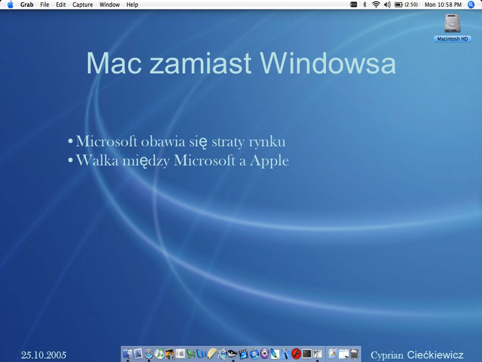 Mac zamiast Windowsa 25.10.2005 Cyprian Ciećkiewicz Microsoft obawia si ę straty rynku Walka mi ę dzy Microsoft a Apple