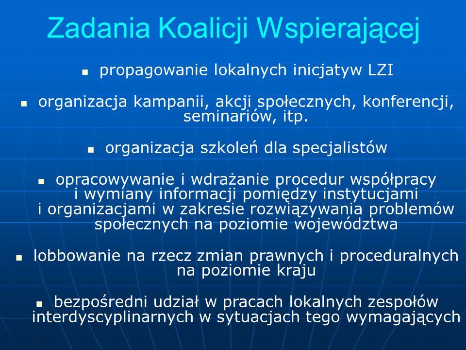 Zadania Koalicji Wspierającej propagowanie lokalnych inicjatyw LZI organizacja kampanii, akcji społecznych, konferencji, seminariów, itp. organizacja
