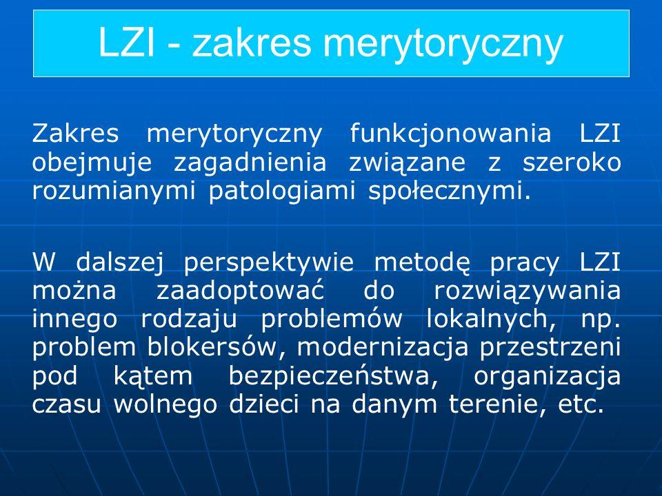 LZI - zakres merytoryczny Zakres merytoryczny funkcjonowania LZI obejmuje zagadnienia związane z szeroko rozumianymi patologiami społecznymi. W dalsze