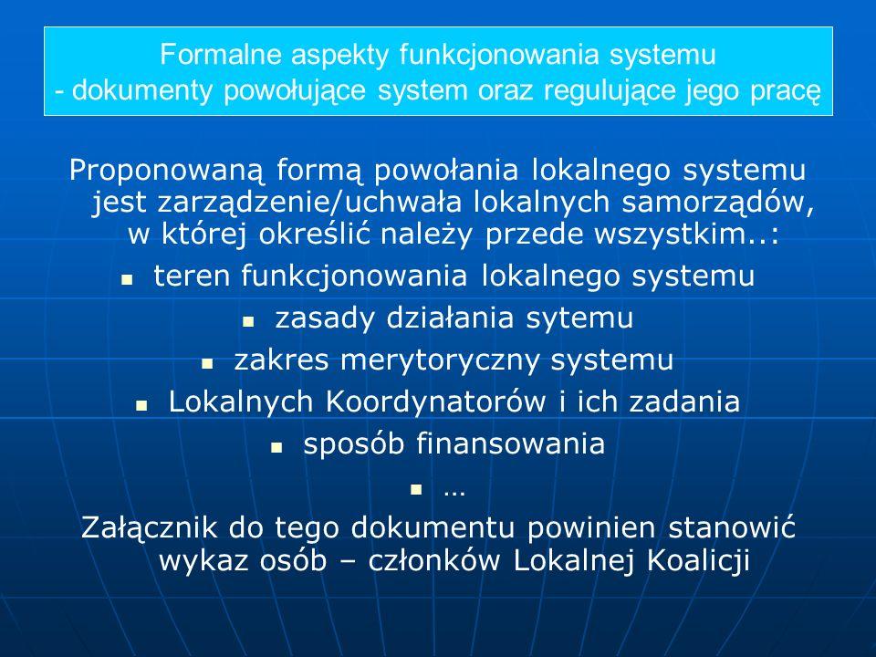 Proponowaną formą powołania lokalnego systemu jest zarządzenie/uchwała lokalnych samorządów, w której określić należy przede wszystkim..: teren funkcj