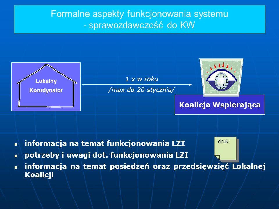 Formalne aspekty funkcjonowania systemu - sprawozdawczość do KW Lokalny Koordynator Koalicja Wspierająca 1 x w roku /max do 20 stycznia/ informacja na