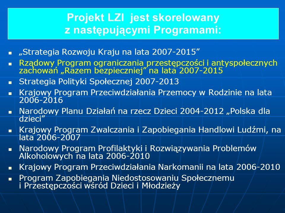 Projekt LZI jest skorelowany z następującymi Programami: Strategia Rozwoju Kraju na lata 2007-2015 Rządowy Program ograniczania przestępczości i antys