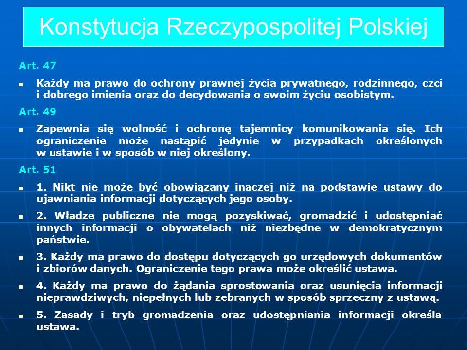 Konstytucja Rzeczypospolitej Polskiej Art. 47 Każdy ma prawo do ochrony prawnej życia prywatnego, rodzinnego, czci i dobrego imienia oraz do decydowan