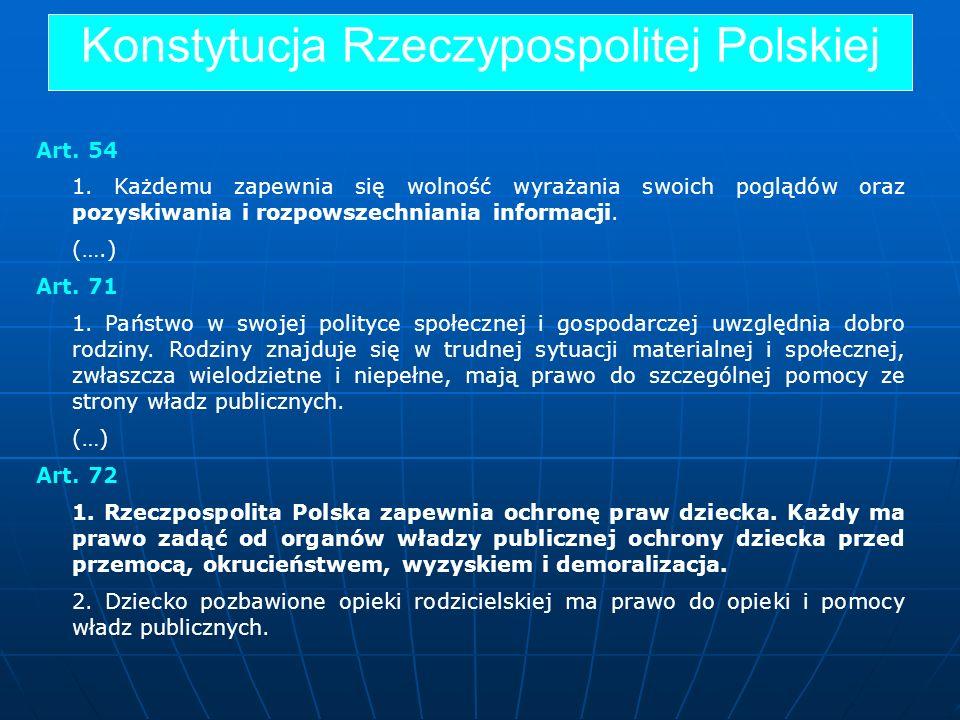 Konstytucja Rzeczypospolitej Polskiej Art. 54 1. Każdemu zapewnia się wolność wyrażania swoich poglądów oraz pozyskiwania i rozpowszechniania informac