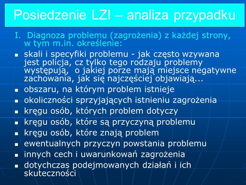 Posiedzenie LZI – analiza przypadku I. Diagnoza problemu (zagrożenia) z każdej strony, w tym m.in. określenie: skali i specyfiki problemu - jak często