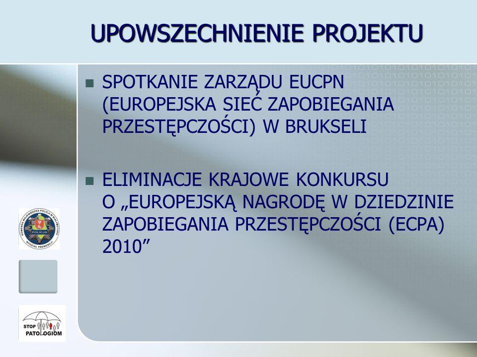 UPOWSZECHNIENIE PROJEKTU SPOTKANIE ZARZĄDU EUCPN (EUROPEJSKA SIEĆ ZAPOBIEGANIA PRZESTĘPCZOŚCI) W BRUKSELI ELIMINACJE KRAJOWE KONKURSU O EUROPEJSKĄ NAGRODĘ W DZIEDZINIE ZAPOBIEGANIA PRZESTĘPCZOŚCI (ECPA) 2010
