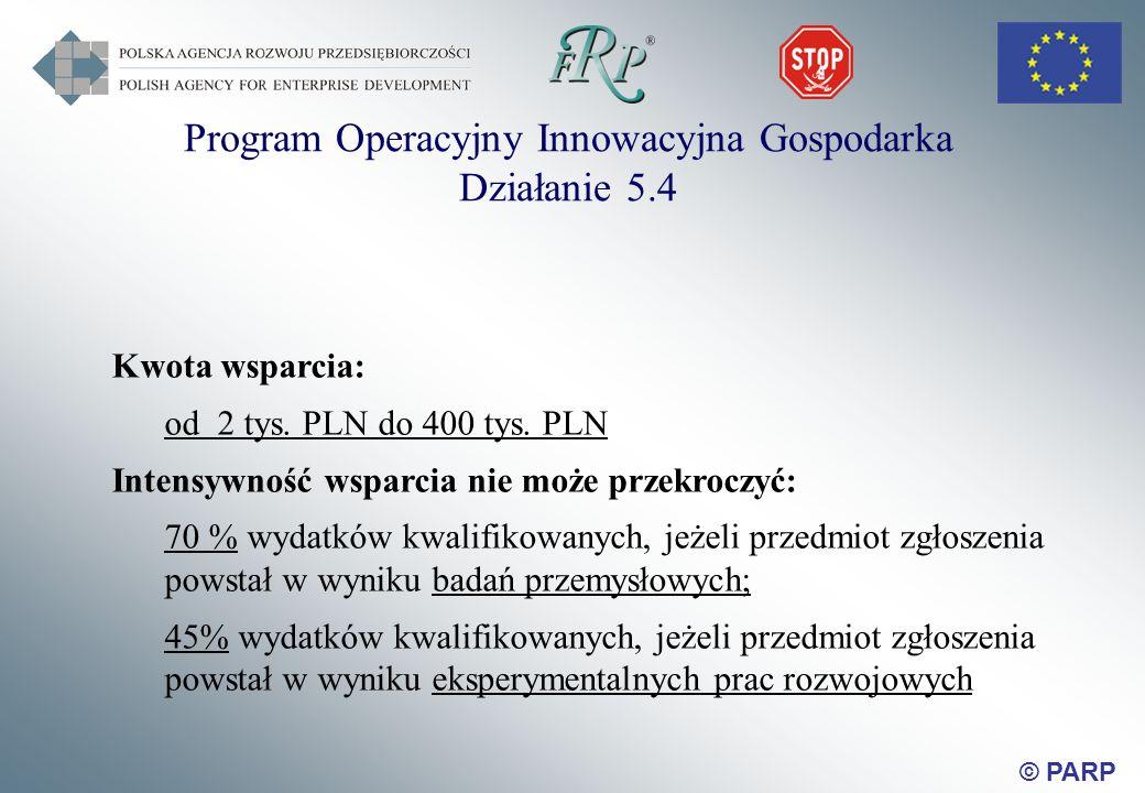 © PARP Kwota wsparcia: od 2 tys. PLN do 400 tys.