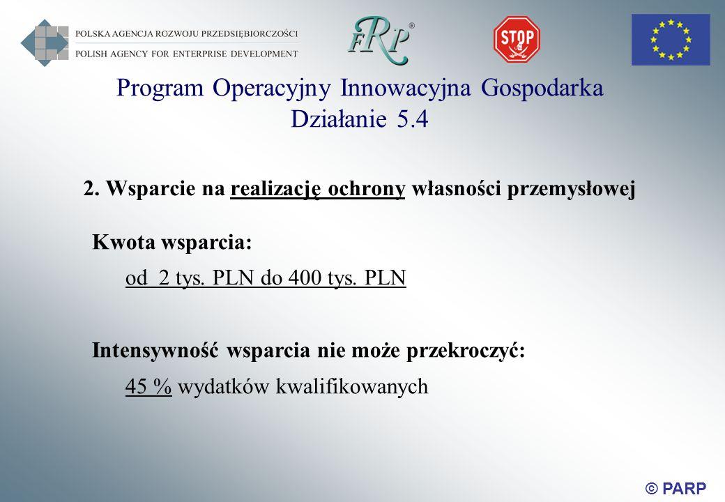 © PARP 2. Wsparcie na realizację ochrony własności przemysłowej Kwota wsparcia: od 2 tys.