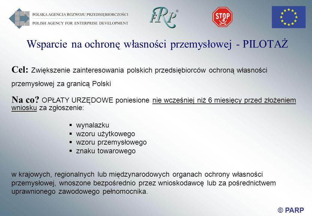 © PARP Wsparcie na ochronę własności przemysłowej - PILOTAŻ Cel: Zwiększenie zainteresowania polskich przedsiębiorców ochroną własności przemysłowej za granicą Polski Na co.