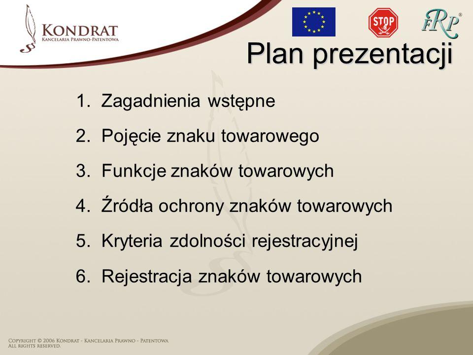 Plan prezentacji 1.Zagadnienia wstępne 2.Pojęcie znaku towarowego 3.Funkcje znaków towarowych 4.Źródła ochrony znaków towarowych 5.Kryteria zdolności