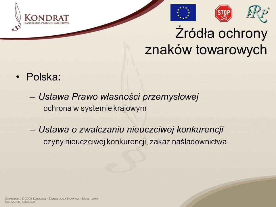 Polska: –Ustawa Prawo własności przemysłowej ochrona w systemie krajowym –Ustawa o zwalczaniu nieuczciwej konkurencji czyny nieuczciwej konkurencji, z