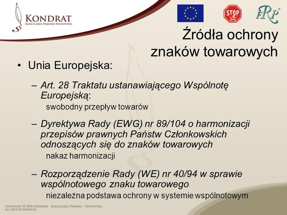 Unia Europejska: –Art. 28 Traktatu ustanawiającego Wspólnotę Europejską: swobodny przepływ towarów –Dyrektywa Rady (EWG) nr 89/104 o harmonizacji prze