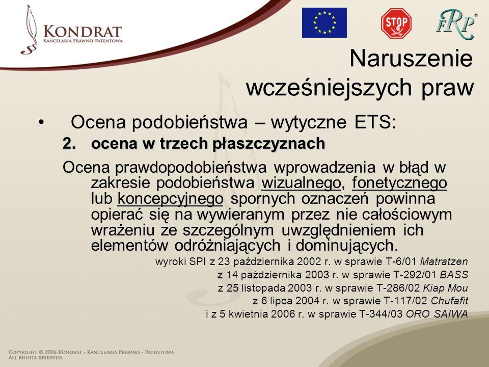 Ocena podobieństwa – wytyczne ETS: 2.ocena w trzech płaszczyznach Ocena prawdopodobieństwa wprowadzenia w błąd w zakresie podobieństwa wizualnego, fon