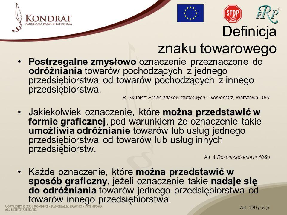 Polska: –Ustawa Prawo własności przemysłowej ochrona w systemie krajowym –Ustawa o zwalczaniu nieuczciwej konkurencji czyny nieuczciwej konkurencji, zakaz naśladownictwa Źródła ochrony znaków towarowych