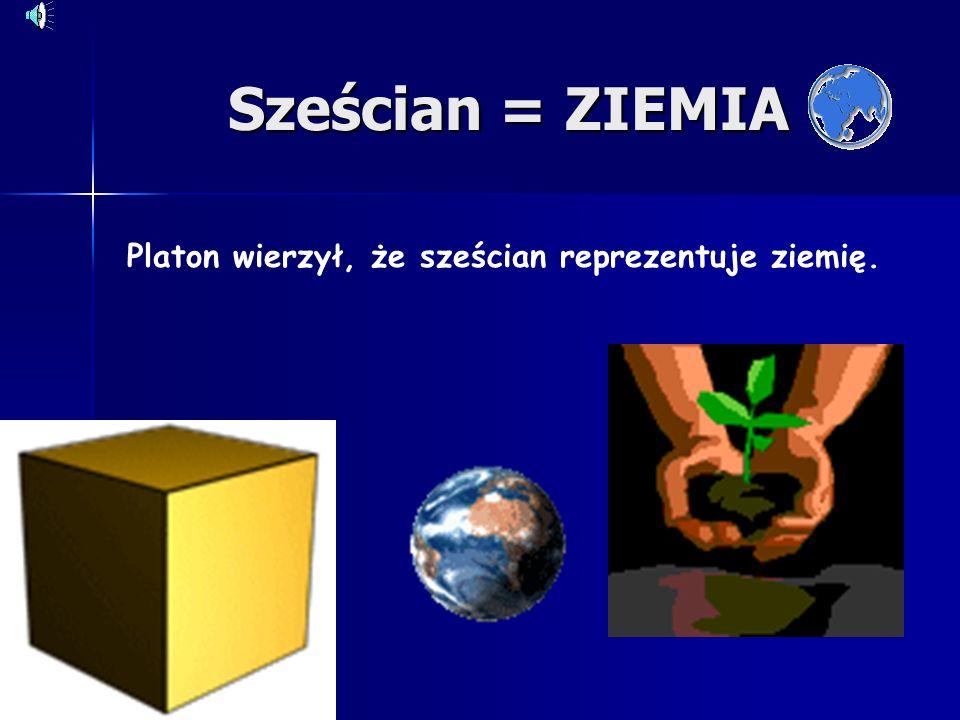Czworościan = OGIEŃ Platon wierzył, że czworościan reprezentuje ogień.