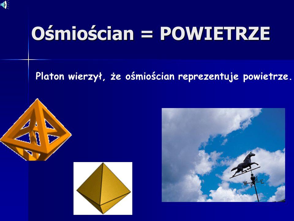 Sześcian = ZIEMIA Platon wierzył, że sześcian reprezentuje ziemię.