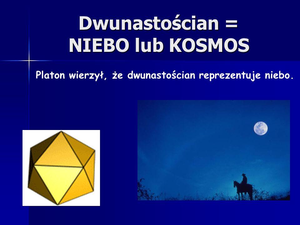 Dwudziestościan = WODA Platon wierzył, że dwudziestościan reprezentuje wodę.