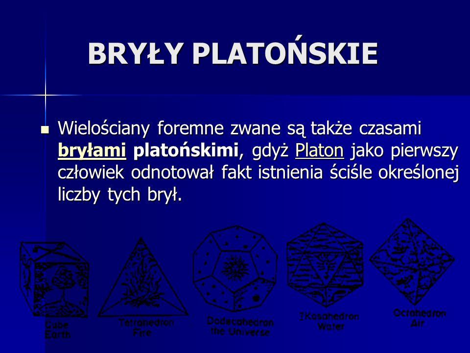 BRYŁY PLATOŃSKIE Wielościany foremne zwane są także czasami bryłami platońskimi, gdyż Platon jako pierwszy człowiek odnotował fakt istnienia ściśle określonej liczby tych brył.