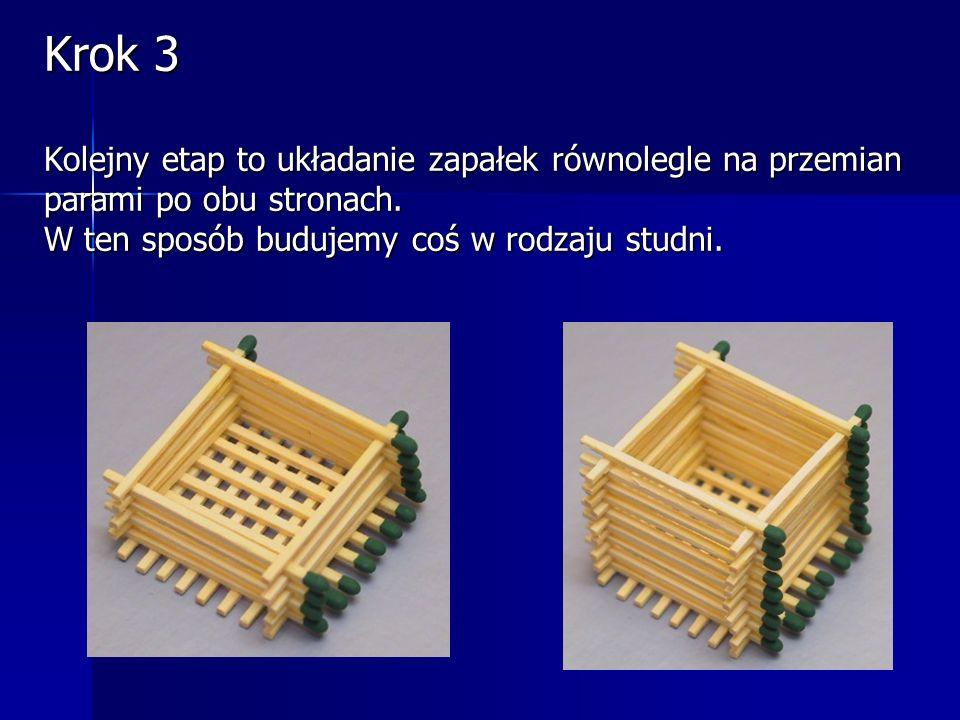 Krok 2 Następnie układamy również 8 zapałek