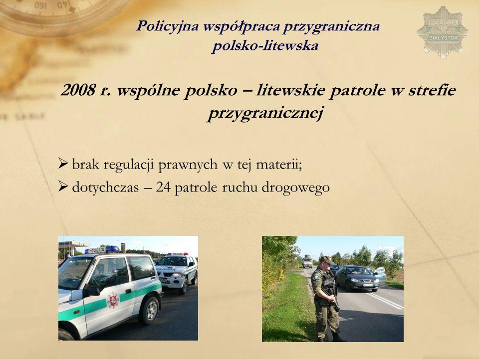 Policyjna współpraca przygraniczna polsko-litewska 2008 r. wspólne polsko – litewskie patrole w strefie przygranicznej brak regulacji prawnych w tej m