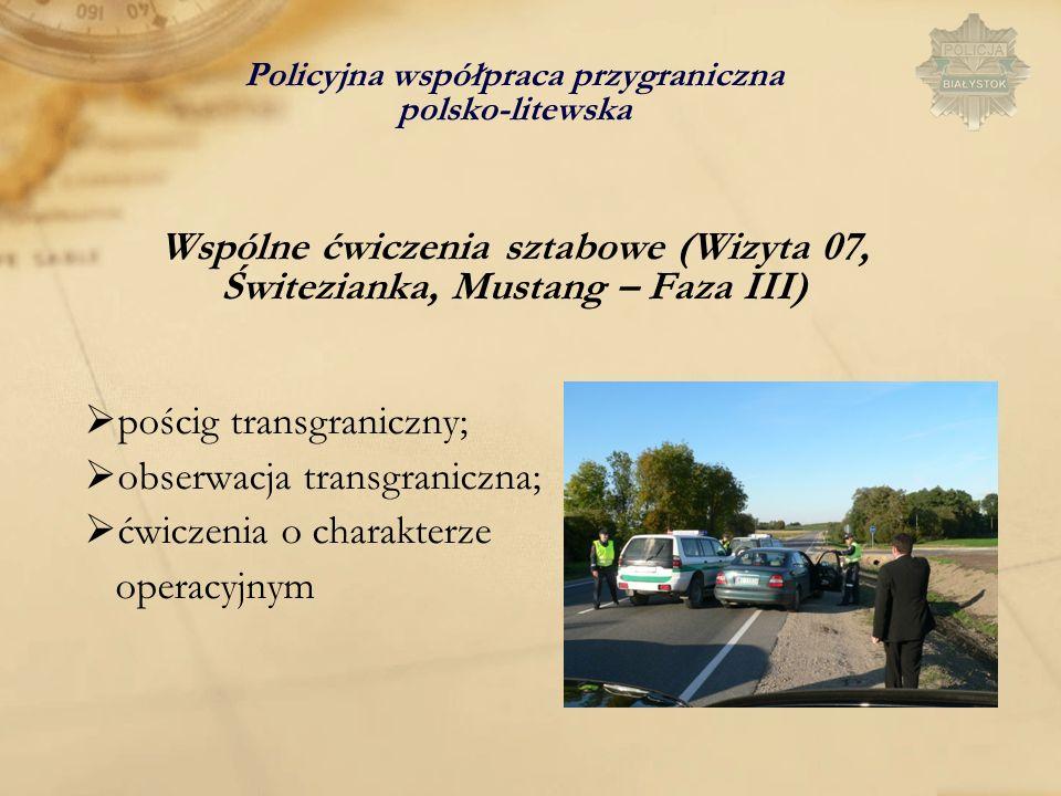 pościg transgraniczny; obserwacja transgraniczna; ćwiczenia o charakterze operacyjnym Policyjna współpraca przygraniczna polsko-litewska Wspólne ćwicz