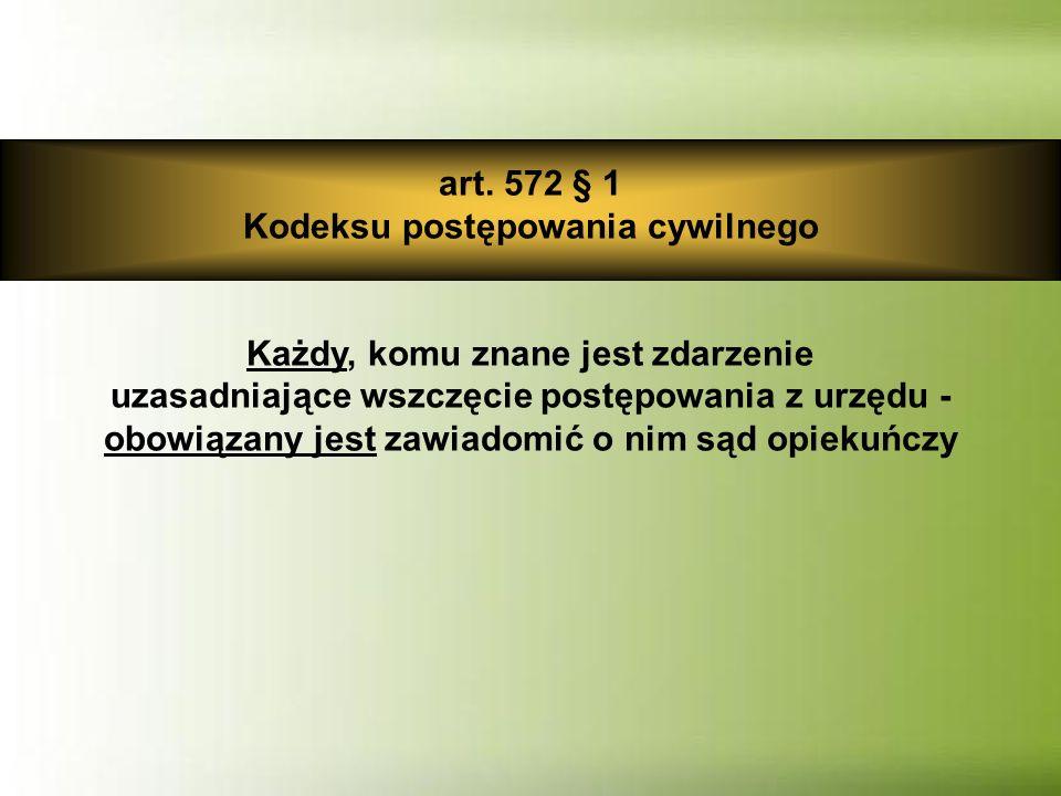 art. 572 § 1 Kodeksu postępowania cywilnego Każdy, komu znane jest zdarzenie uzasadniające wszczęcie postępowania z urzędu - obowiązany jest zawiadomi