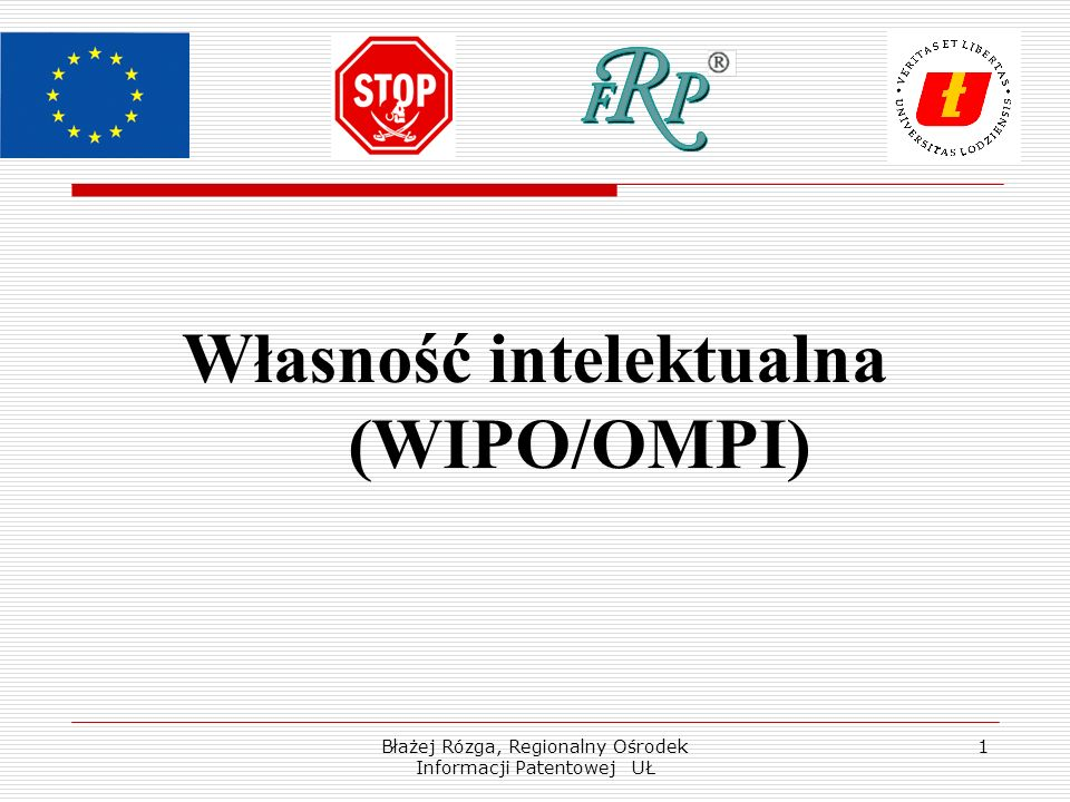 Błażej Rózga, Regionalny Ośrodek Informacji Patentowej UŁ 1 Własność intelektualna (WIPO/OMPI)
