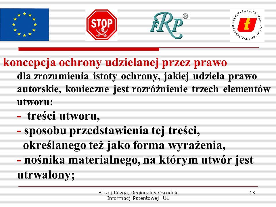 Błażej Rózga, Regionalny Ośrodek Informacji Patentowej UŁ 13 koncepcja ochrony udzielanej przez prawo dla zrozumienia istoty ochrony, jakiej udziela p