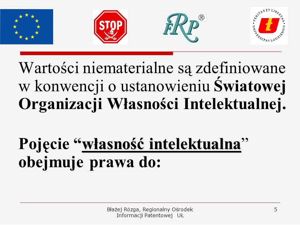 Błażej Rózga, Regionalny Ośrodek Informacji Patentowej UŁ 5 Wartości niematerialne są zdefiniowane w konwencji o ustanowieniu Światowej Organizacji Własności Intelektualnej.