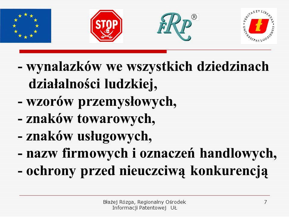 Błażej Rózga, Regionalny Ośrodek Informacji Patentowej UŁ 7 - wynalazków we wszystkich dziedzinach działalności ludzkiej, - wzorów przemysłowych, - znaków towarowych, - znaków usługowych, - nazw firmowych i oznaczeń handlowych, - ochrony przed nieuczciwą konkurencją