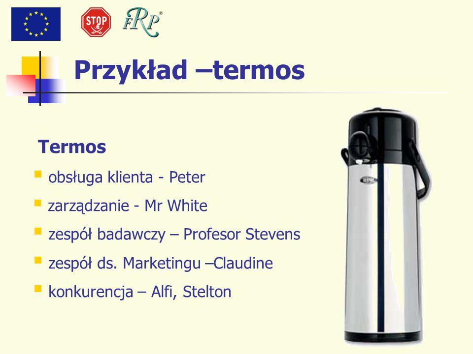 Przykład –termos Termos obsługa klienta - Peter zarządzanie - Mr White zespół badawczy – Profesor Stevens zespół ds. Marketingu –Claudine konkurencja