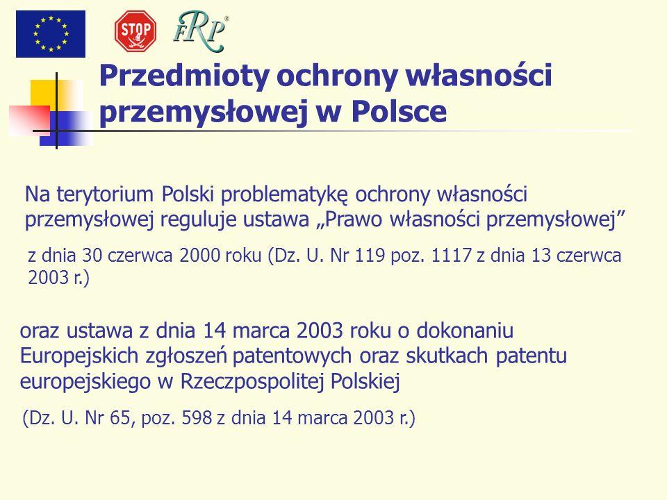 Na terytorium Polski problematykę ochrony własności przemysłowej reguluje ustawa Prawo własności przemysłowej z dnia 30 czerwca 2000 roku (Dz. U. Nr 1