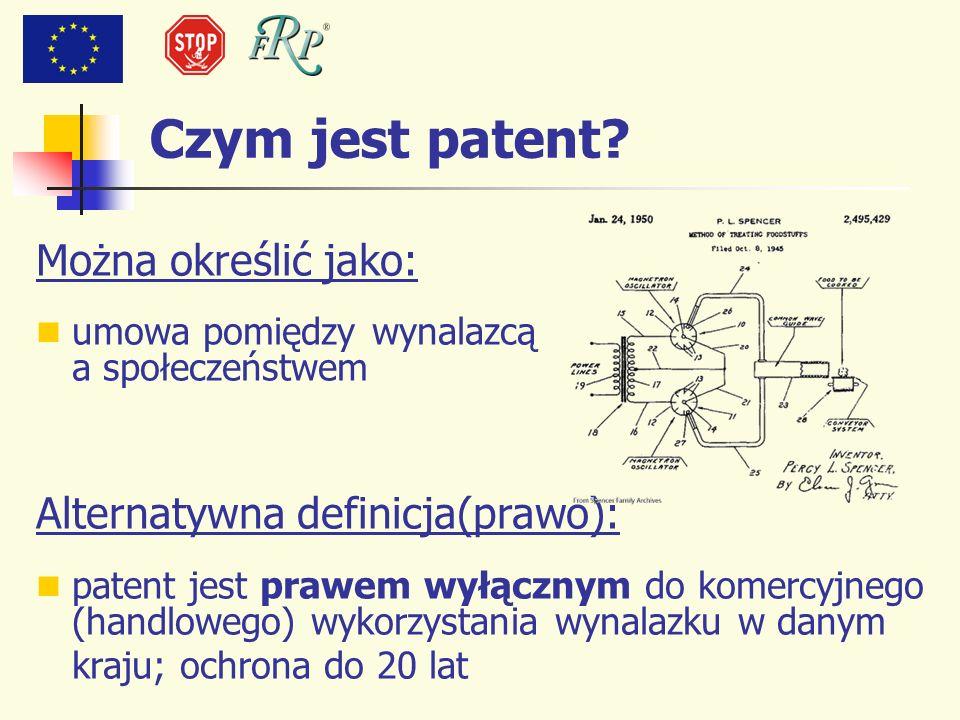 Czym jest patent? Można określić jako: umowa pomiędzy wynalazcą a społeczeństwem Alternatywna definicja(prawo): patent jest prawem wyłącznym do komerc