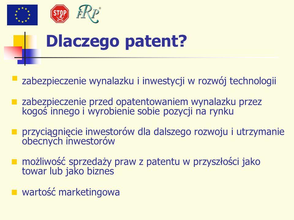 Dlaczego patent? zabezpieczenie wynalazku i inwestycji w rozwój technologii zabezpieczenie przed opatentowaniem wynalazku przez kogoś innego i wyrobie