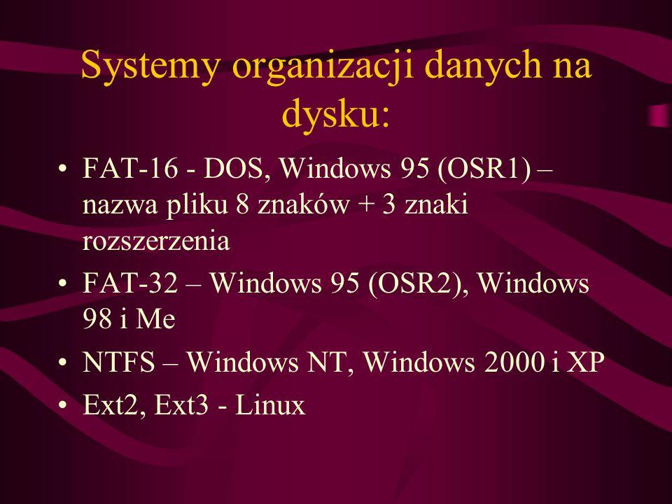 Systemy organizacji danych na dysku: FAT-16 - DOS, Windows 95 (OSR1) – nazwa pliku 8 znaków + 3 znaki rozszerzenia FAT-32 – Windows 95 (OSR2), Windows