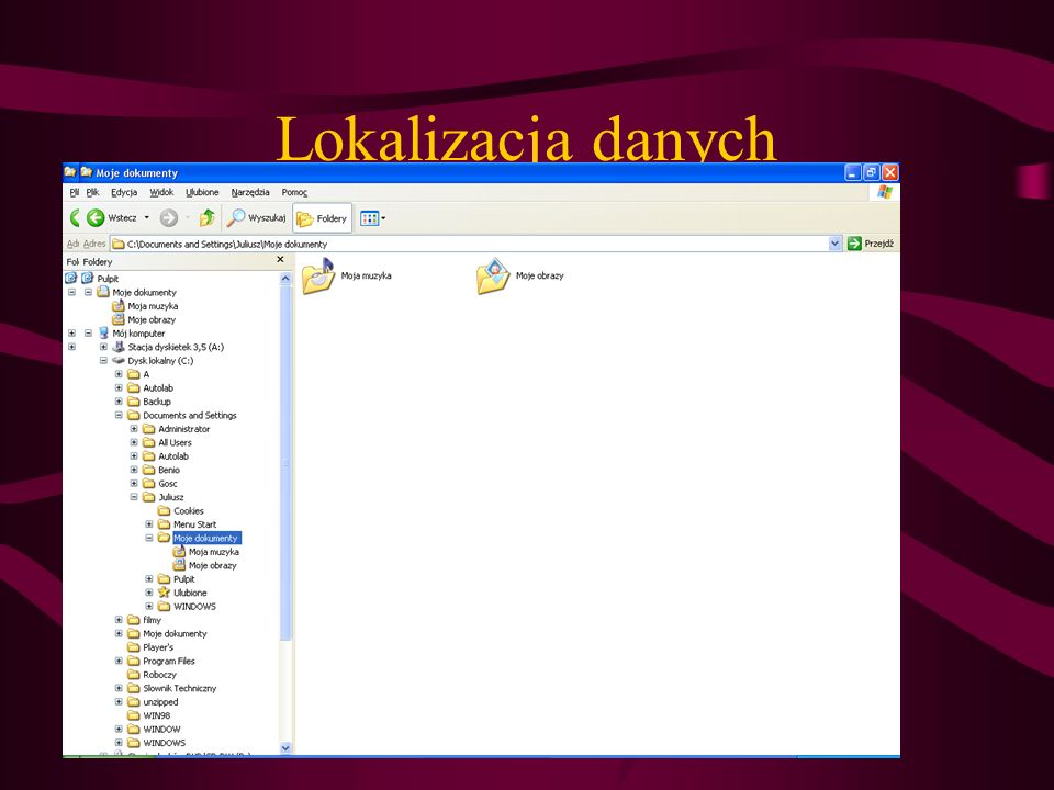Zmiana ścieżek Win 9X – Windows 2000 - XP Dokumenty C:\Moje Dokumenty C:\Documents and Settings\ Każdy użytkownik ma swój pulpit, dokumenty, ulubione strony internetowe System C:\Windows C:\Winnt