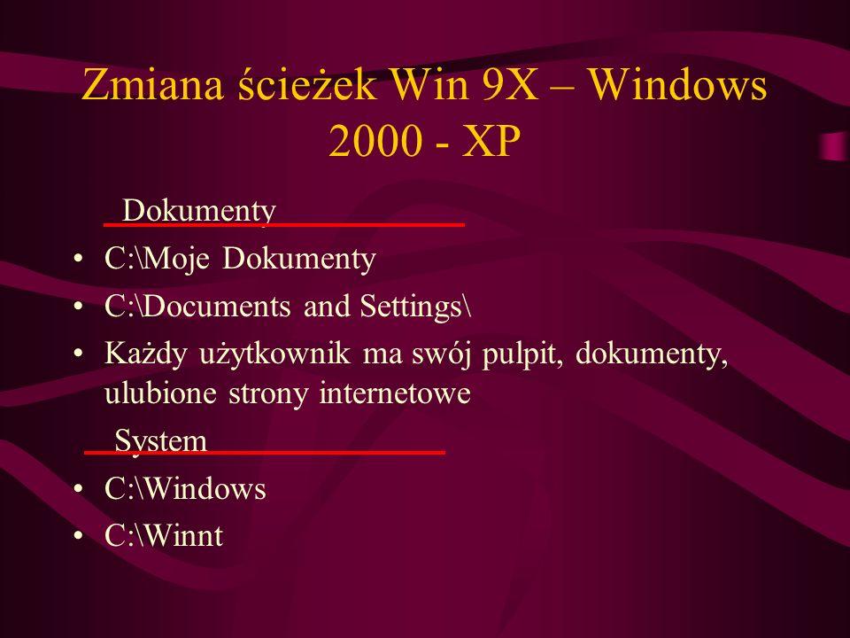 Zmiana ścieżek Win 9X – Windows 2000 - XP Dokumenty C:\Moje Dokumenty C:\Documents and Settings\ Każdy użytkownik ma swój pulpit, dokumenty, ulubione