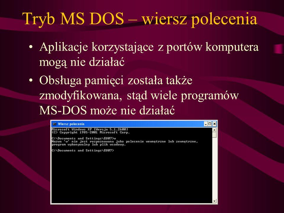Tryb MS DOS – wiersz polecenia Aplikacje korzystające z portów komputera mogą nie działać Obsługa pamięci została także zmodyfikowana, stąd wiele prog