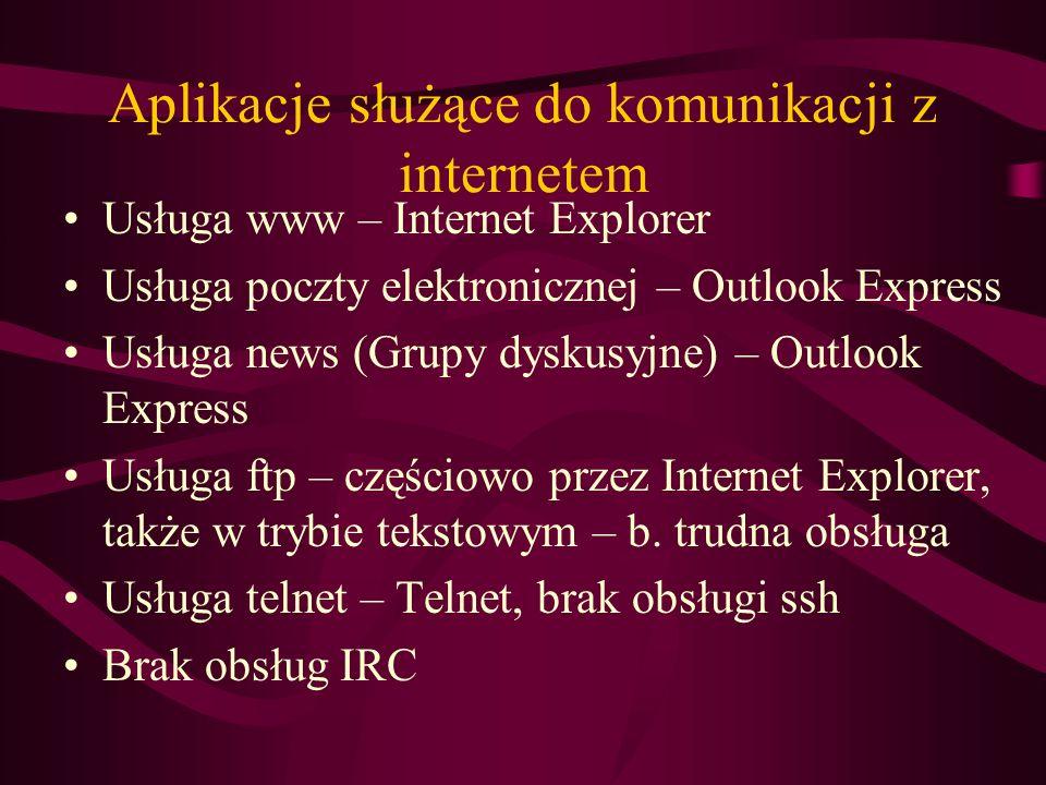 Aplikacje służące do komunikacji z internetem Usługa www – Internet Explorer Usługa poczty elektronicznej – Outlook Express Usługa news (Grupy dyskusy