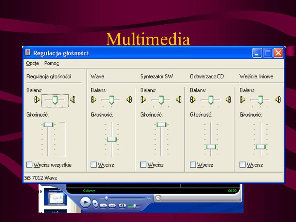 Multimedia Odtwarzanie filmów, muzyki także w formacie MP3 (od windows XP)– Windows Media Player (filmy bez napisów) Rejestracja dźwięku np. z mikrofo