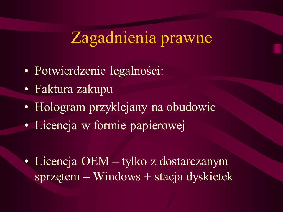 Zagadnienia prawne Potwierdzenie legalności: Faktura zakupu Hologram przyklejany na obudowie Licencja w formie papierowej Licencja OEM – tylko z dosta