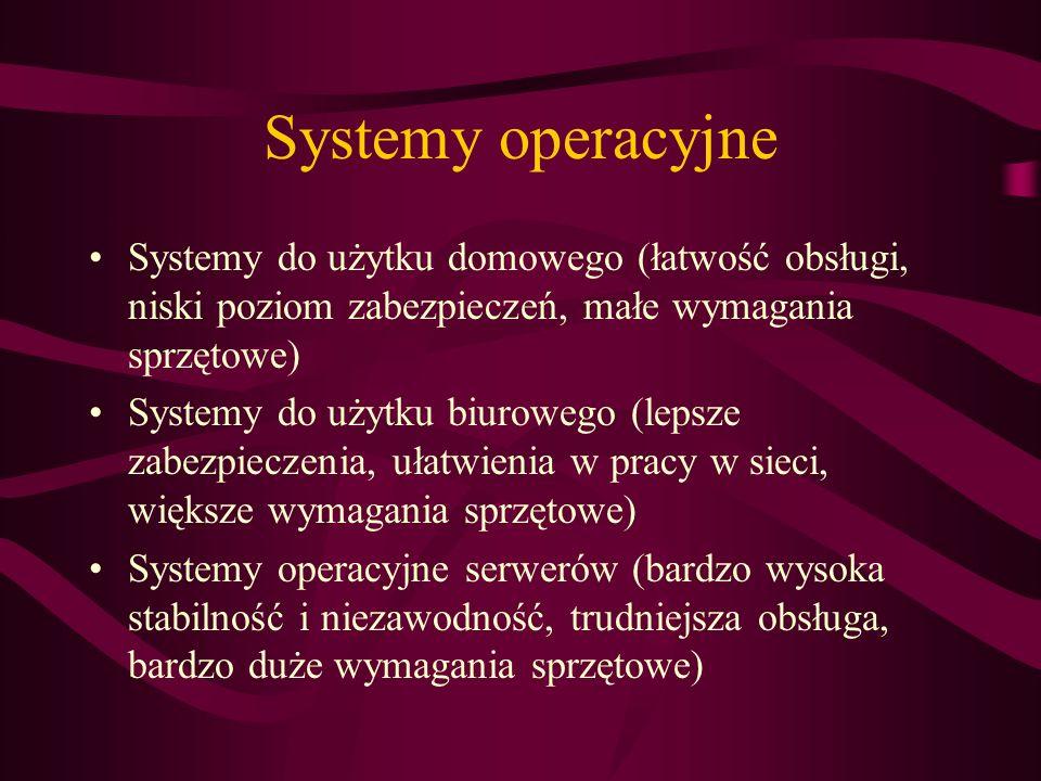 Systemy operacyjne Systemy do użytku domowego (łatwość obsługi, niski poziom zabezpieczeń, małe wymagania sprzętowe) Systemy do użytku biurowego (leps